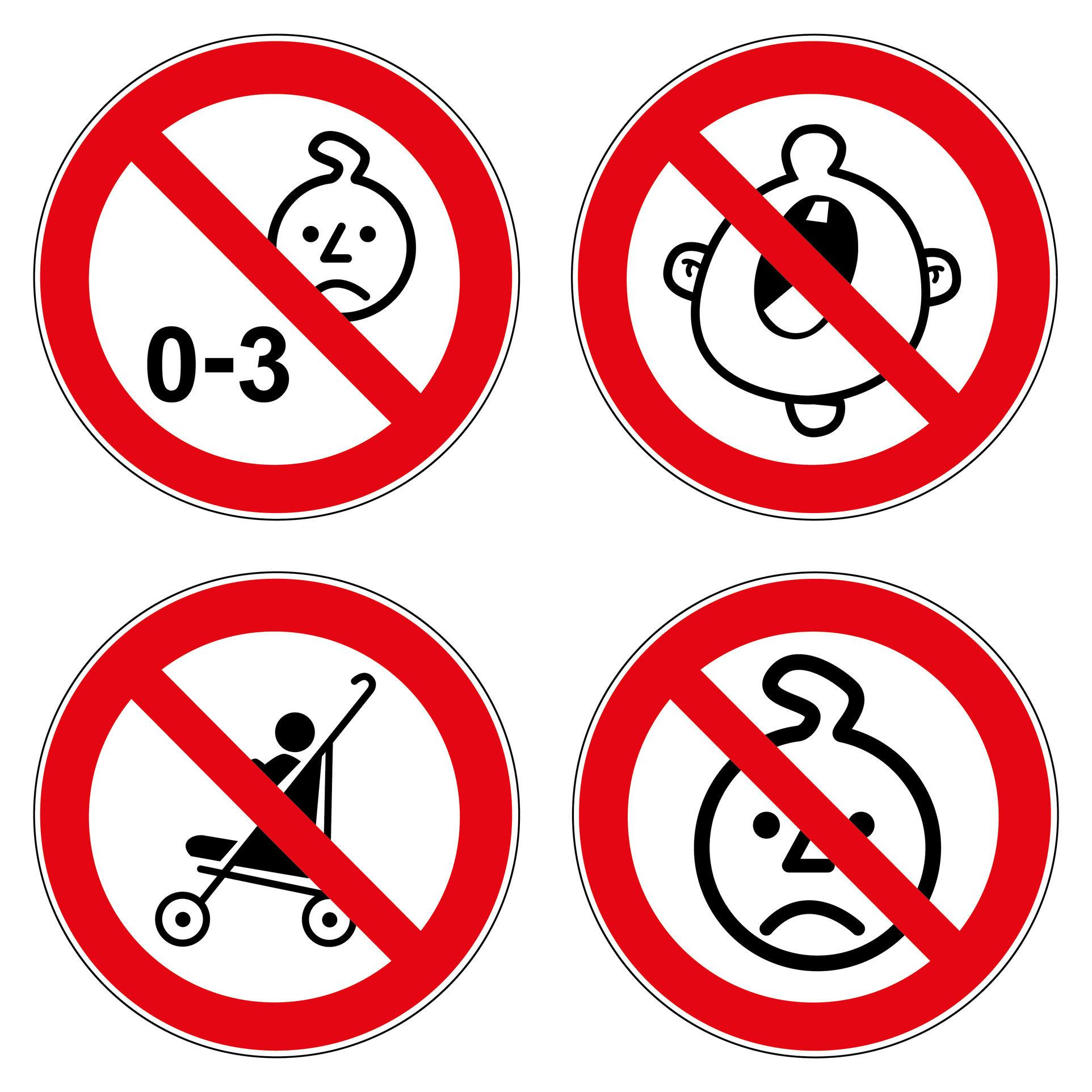 Verbotszeichen Set Kinder Kind Kleinkind Kinderwagen Verbote