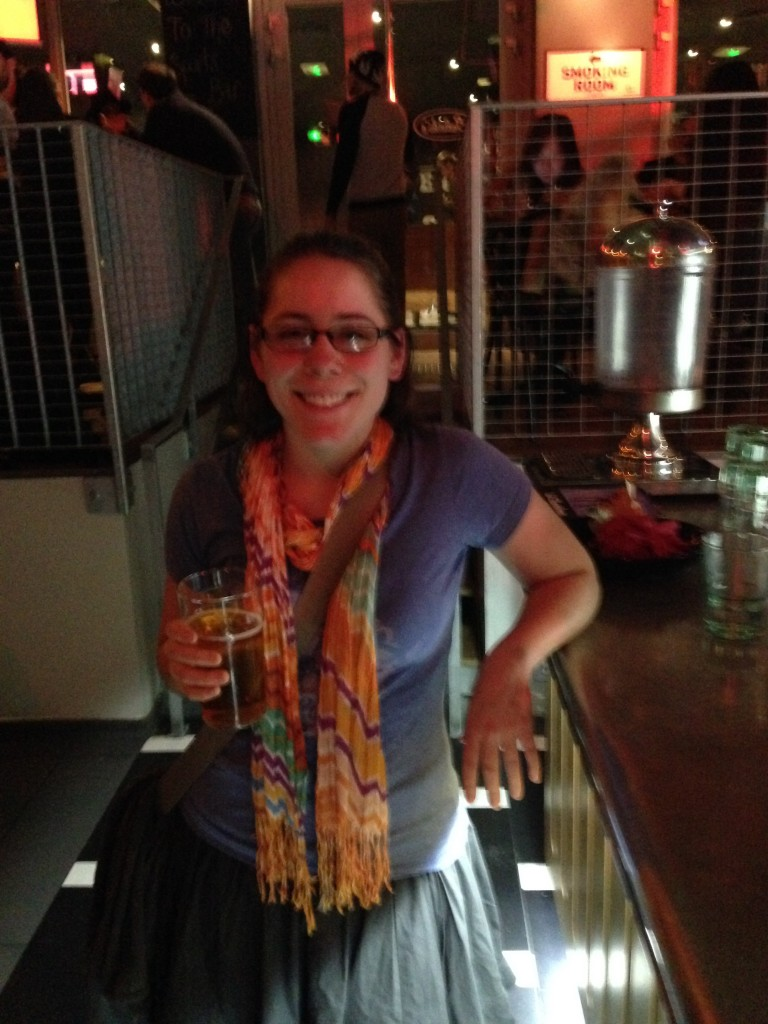 Beth enjoying beer
