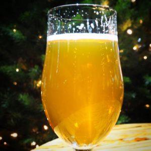 Beer glass and Christmas tree.